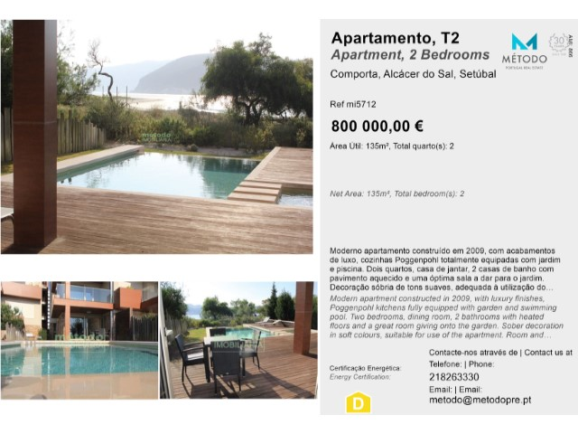 Apartment 2 Bedrooms For sale 800,000€ in Alcácer do Sal
